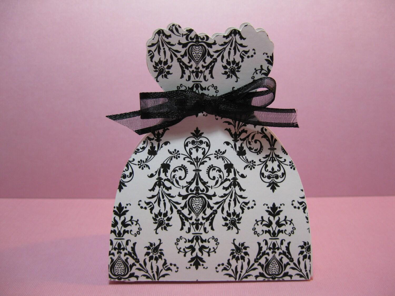 Set of 10 Bride Dress Favor Boxes Black and White Damask