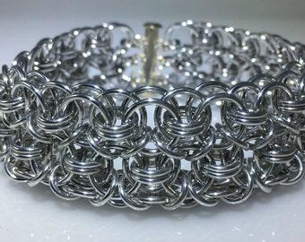 Large Conundrum Silver Aluminum Helm Chainmaille Cuff Bracelet chain maille, chainmail, chain mail
