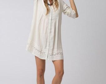 Short White Dress, Button Dress, Loose Fit, White Shirt Dress, Bohemian Chic, Boho Fashion, Women's Clothing