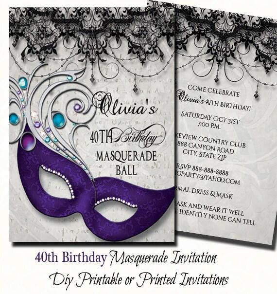 40th Birthday Masquerade Party Invitation Masquerade Invite