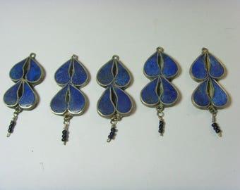 vintage five twin maids lapis lazuli pendants lot goddess tarot Wicca hand crafted et1105
