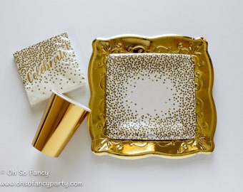 Gold Tableware Bundle/ Gold Confetti / Gold Party Decor / Gold Birthday / Milestone Birthday / Golden Anniversary / Celebrate Napkins