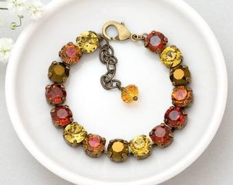 Red Bracelet, Autumn Bracelet, Fall Bracelet, Swarovski Crystal Bracelet, Red Rhinestone Bracelet Brass, Swarovski Bracelet Yellow, Duha