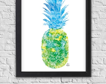 Displays green blue pineapple with ink, exotic fruit, poster, tropical pattern