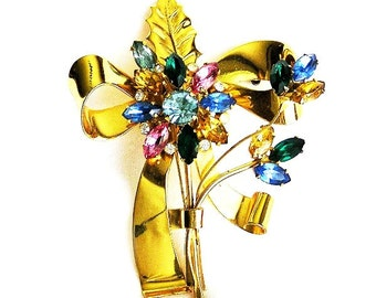 Coro Sterling Flower Brooch, Large and Colorful