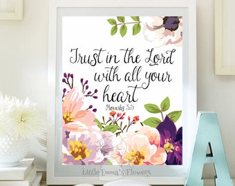 Scripture art Nursery decor Trust in the Lord print instant download Proverbs 3 5 wall Bible verse decor home decor nursery verse 92-92a