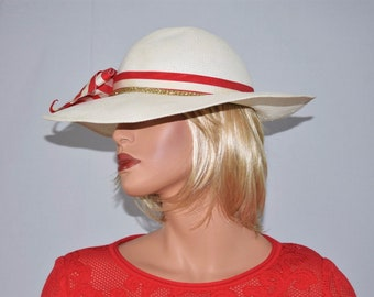 Vintage MISS BIERNER White Straw Red White Gold Hatband Wide Brim Hat One Size