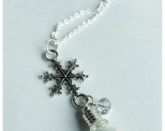 SNOWGLOBE - tiny glass globe. bottle necklace. winter. frozen.