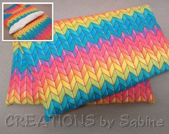 Corn Heating Pack Pillow Washable Cover Heat Bag Therapy flannel Herring Bone Pattern Colorful Rainbow Colors Gift Idea READY TO SHIP (546)