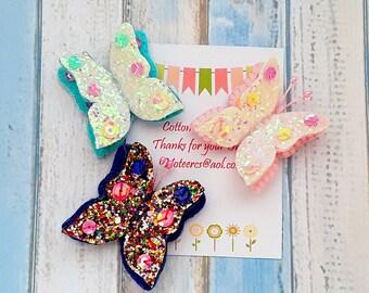 Butterfly hair clips, Set of 3 Glitter Butterfly hair clips, butterflies Free Uk Shipping