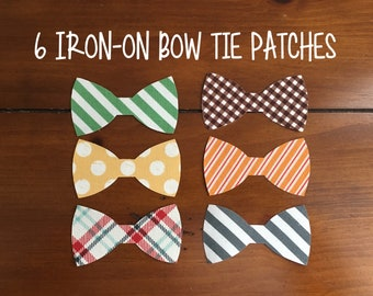 "6 Iron-on Boys Applique Patch Ties, Infant/Toddler Bow Ties, 3"" Fabric Appliqués ***Ready to Ship!"