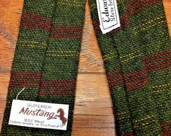Vintage Retro 1940s 40s Rockabilly Swing Mid Century Wool Superba Mustang Scotland Square Neck Tie