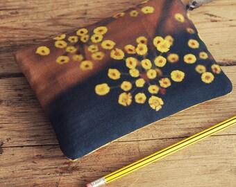 Yellow flowers purse with zip, zipper purse, cosmetics bag, wallet, phone case