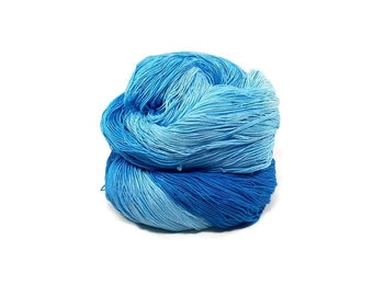 300 Yards Hand Dyed Cotton Crochet Thread Size 10 3 Ply 6 Shades of Blue Ombre From Dark Blue to Pale Blue Fine Cotton Yarn