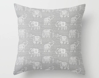 Elephant Pillow Cover Gray Pillow India Pillow Decorative Pillow Size Choice