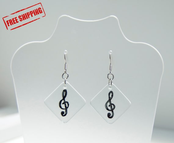 Treble Clef - Free shipping - Glass earrings - Rhombus form - Musical note - Musicians - Music lovers - Romantic - Elegant - Ready To Ship