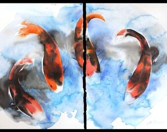 Koi diptych June 2016, original watercolor