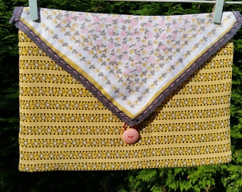 Debbie pillow. Envelope style throw pillow. Marigold and pink, lace, button