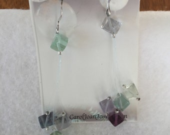 Flourite cube drop earrings