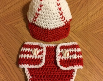 Newborn baseball hat and diaper cover