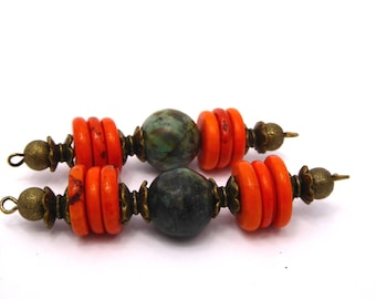 2 African turquoise mount and recomposed turquoise heishi beads, orange