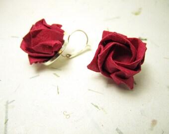 Red Origami Rose Earrings, Origami Jewelry, Rose Flower Earrings, Asian Japanese Earrings, Lolita Jewelry, Harajuku Geisha Earrings