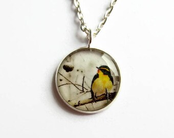 Bird Necklace - Yellow Bird Picture Pendant - Bird Jewelry - Bird Lover Gift - Dainty Necklace - Bird Watcher Gift - Gift for Her