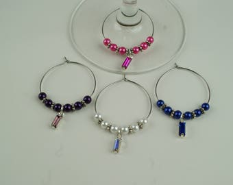 Drop Gem Wine Charms-4pc