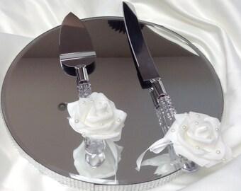 Cake serving set, Wedding cake server and knife, shabby chic wedding server set, vintage shabby chic wedding knife.