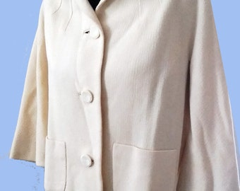 Beautiful 1950's  Cream Wool Wafflecloth Spring Jacket Sz Medium