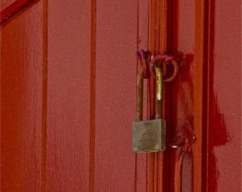 """Door red golden door lock photograph abstract  """"RED and LOCKED"""" Greece travel Greek wall decor decorative collectable door"""
