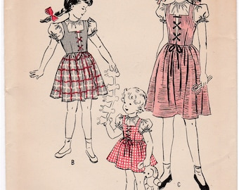 FF 1940s Butterick 4516 Girls Lace Front Dirndl Jumper Dress & Puff Sleeve Blouse Vintage Sewing Pattern, Size 8, Breast 26, UnPrinted