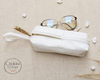 Pencil Case, Zipper Pouch, Small Cosmetic Bag, Cotton canvas Pouch Bags.