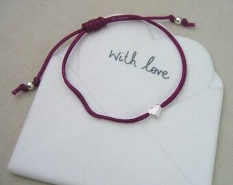 Sterling Silver Heart Friendship Bracelet - Handmade - Adjustable - Colour Options