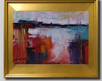 Plein Air Landscape Painting, Oil, Water Painting, Field Painting, Red Contemporary Painting, Blue Abstract Painting