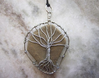 River Rock Wire Wrapped Tree of Life Pendant P086