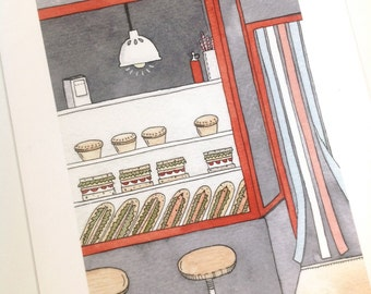 The Sandwich Bar - Giclee print of original illustration