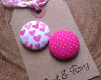 Valentines Day Needle Minder, Hearts, Polka Dots, 2 Piece Reversible, Love, Pink, Hot Pink, Cross Stitch, Sewing
