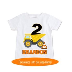 Dump Truck Shirt, Construction Birthday Shirt, Toddler Gift, Boy Baby Gift, 2nd Birthday, Gift for Kids shirt, Personalized Kids (EX 254)
