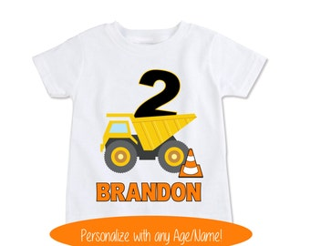 Dump Truck birthday shirt, Baby Boy clothes, Construction Birthday, Gifts for Boys, Cute boy Shirts, Boy Clothing, any Age / Name (EX 254)