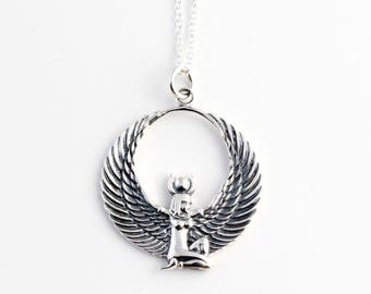 Sterling Silver Egyptian Isis Pendant, Silver Isis Necklace, Egyptian Pendant, Egyptian Necklace, Egyptian Charm, Goddess Necklace