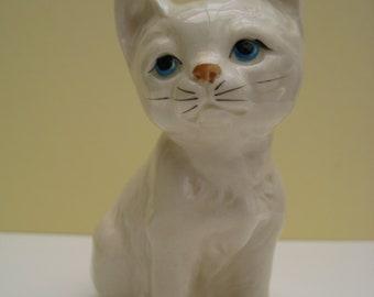 Vintage porcelain cat figurine, white cat figurine