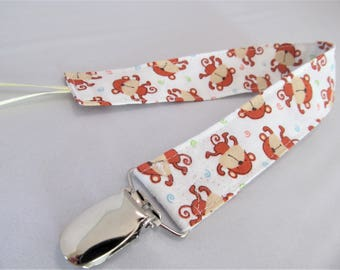 Universal Fabric Pacifier & Toy Clip - Mini Monkeys - Neutral - Paci Clip, Teether Clip, Binky Clip, Baby Shower Gift