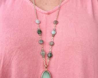 Green Aventurine and Gold Chain Necklace with Green Stone Pendant