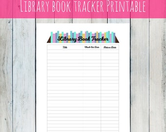 INSTANT DOWNLOAD pdf Library book tracker printable organizer habit tracker book monthly planner book planner 2018 scrapbook reading