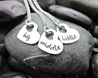 Big Sister - Middle Sister - Little Sister - Matching Heart Necklaces