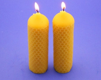 Honeycomb Beeswax Candles, Pair of 1.5 x 6 Bees Wax Candle Pillars, Pure Epic Beeswax Candles, Honeycomb Pillar Candles, Honeycomb Candles