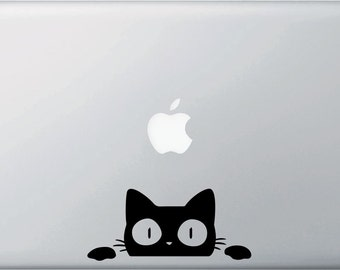 MB - Surprised Cat Peeking Over . . .  Vinyl Laptop Decal Sticker - Copyright 2014 © YYDC (Size and Color Choices)