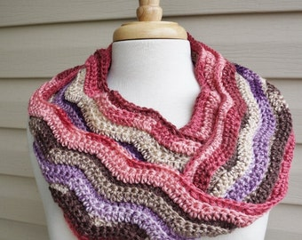 Crochet Super Soft, Ripple Stich Infinity Scarf in Variegated Rose, Brown and Purple
