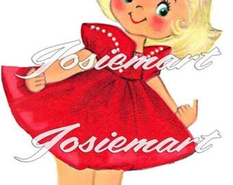 Vintage Digital Download Cute Girl Blond Vintage Image Collage Large JPG Clipart